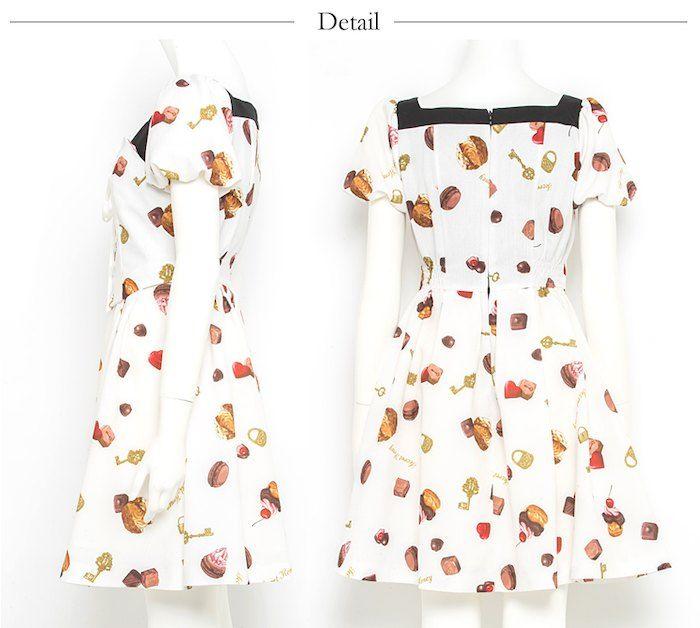 チョコレート柄ワンピース 2 920 00 販売スタート 入荷済 シークレットハニー ワンピース 柄ワンピース 半袖ドレス 洋服