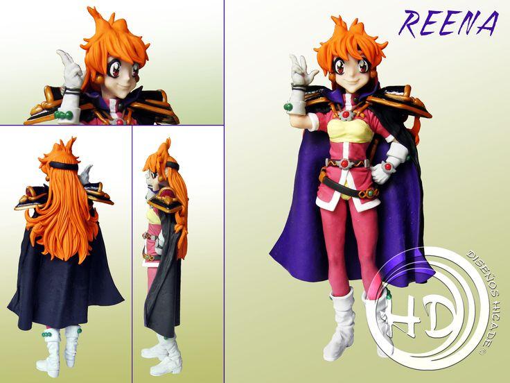 """Figura de Reena, protagonista de la serie japonesa de anime """"Slayers"""" (""""Reena y Gaudy"""" en España). Figura de 21-22 cm aprox. Hecha totalmente a mano.  Materiales: arcilla polimérica FIMO."""