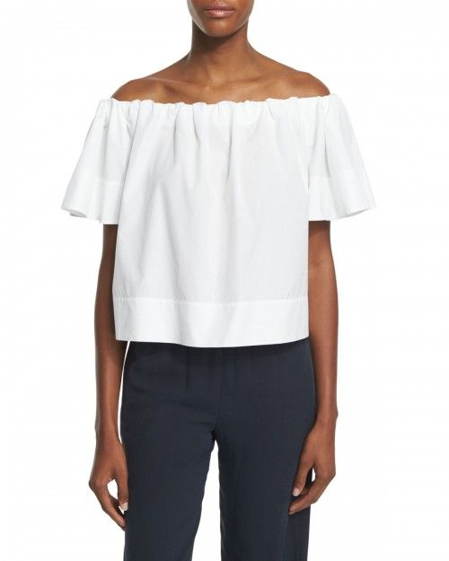 Vince+Off+the+Shoulder+Cropped+Top+Women's+Xx+White+|+Clothing
