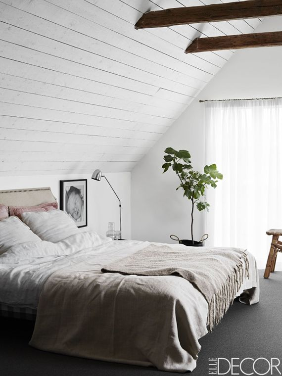 Bedroom With Exposed Roof Beams | Kristofer Johnsson For Elle Decor