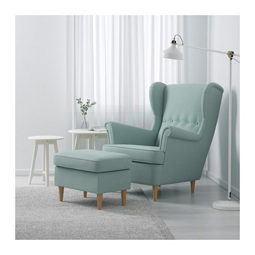 STRANDMON Wing chair - Skiftebo light turquoise - IKEA