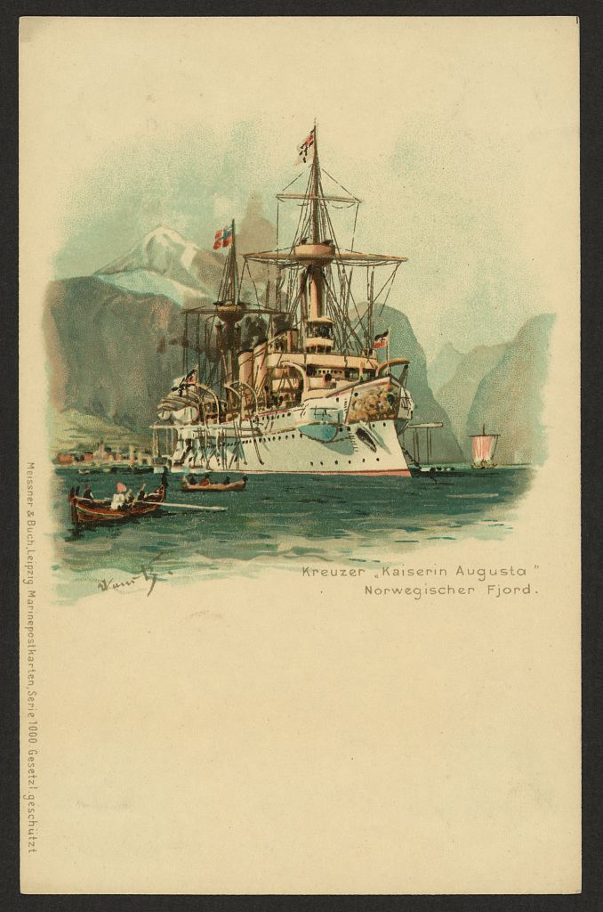 1 print (postcard) : color. | Postcard showing the cruiser SMS Kaiserin Augusta, in a Norwegian fjord.