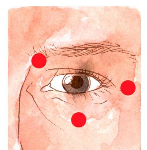 """Após estimular o ponto caratê, continue a sequência de EFT repetindo a frase-lembrete em voz alta (""""esta sensação de..."""") ao mesmo tempo que toca os seguintes pontos com a ponta dos dedos: No osso do começo da sobrancelha, no osso sob o final dela e no meio do osso abaixo do olho."""