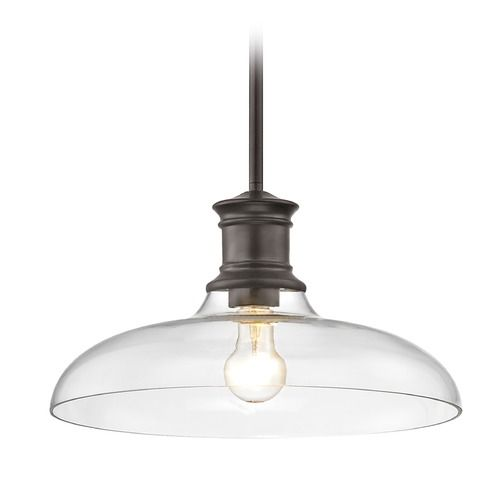 Industrial Bronze Pendant Light with Clear Glass 14-Inch Wide | 1761-220 G1784-CL | Destination Lighting