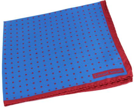 Blue Pocket Square With Red Dots