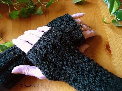 Fingerlose Handschuh.....stricken - YouTube