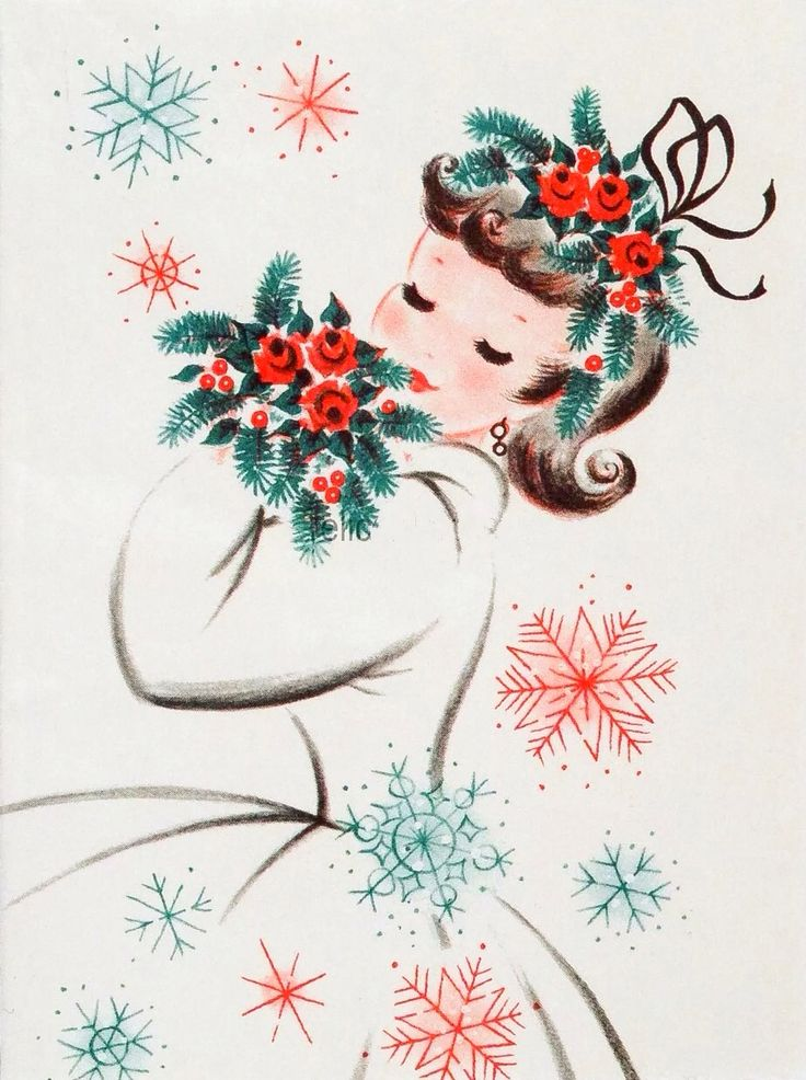 Vintage Christmas greeting card featuring a girl holding a bouquet of red flowers.