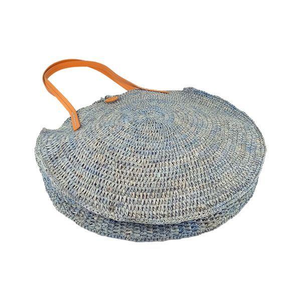 Round raffia straw tote bag