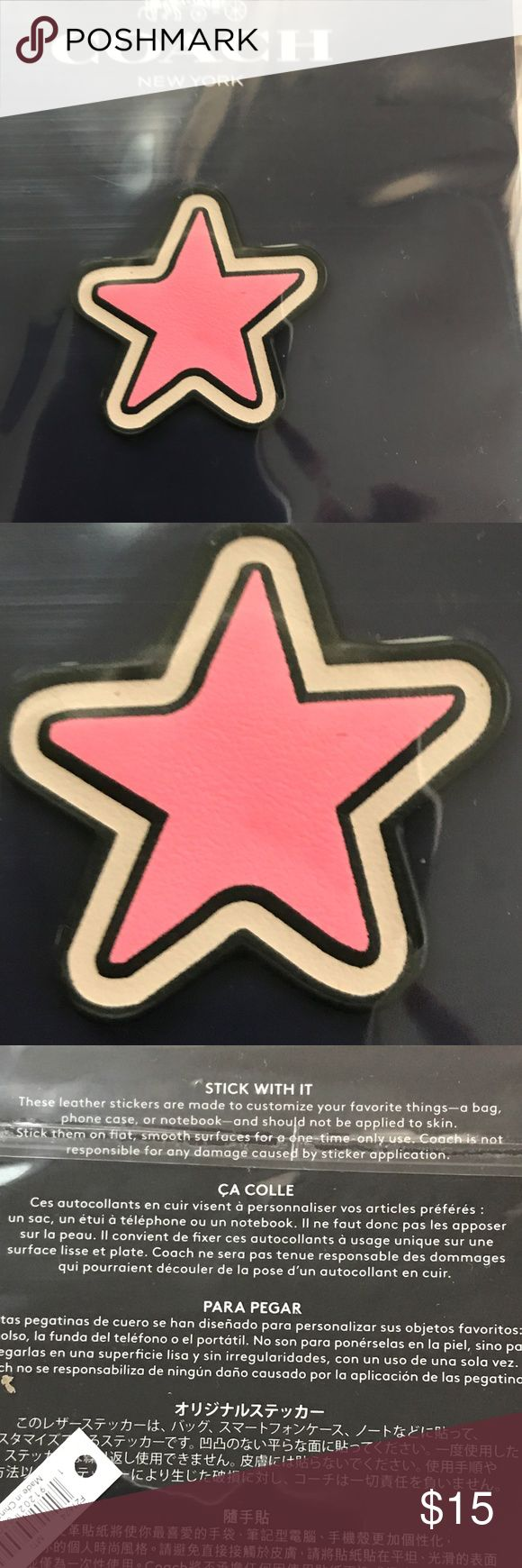 "Coach ""Star"" Emoji Leather Sticker This leather sticker is are made to customize your favorite purse, phone case, or even a notebook. Coach Accessories"