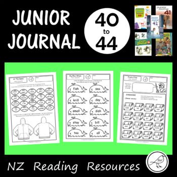 Worksheets for Junior Journals 40-44. (New Zealand) A worksheet for every story, article, poem and play in the Junior Journals 40-44. 28 quality worksheets in total. Excellent for classroom use. Made by a teacher, for teachers. Great for photocopying.