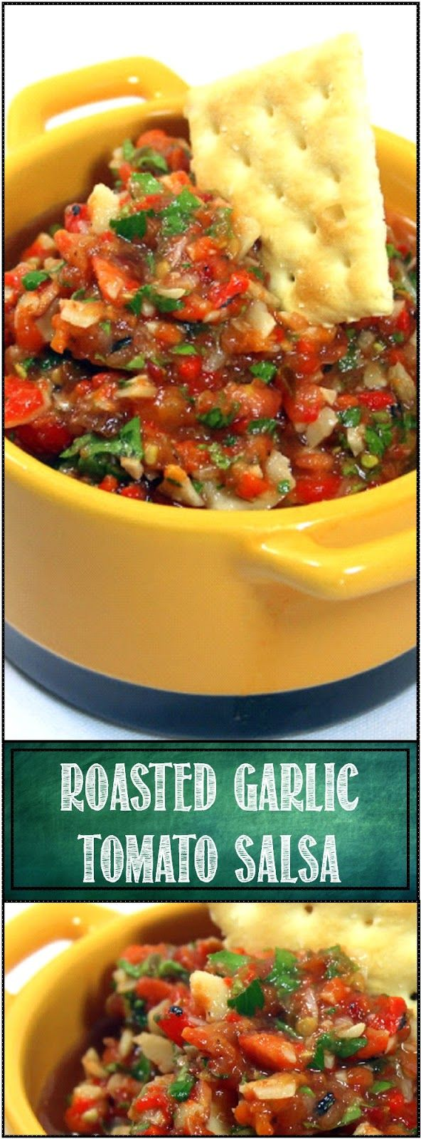 SWEET ROASTED GARLIC Tomato Salsa - This dish is fantastic as a started chip and dip, slather some of this on a hot dog, add as a compliment to a grilled Salmon fillet, grill a few toast points and serve up a wonderful fresh Bruschetta (dare I suggest a single cube of Cantaloupe on a fork with a bit of this... Really!).