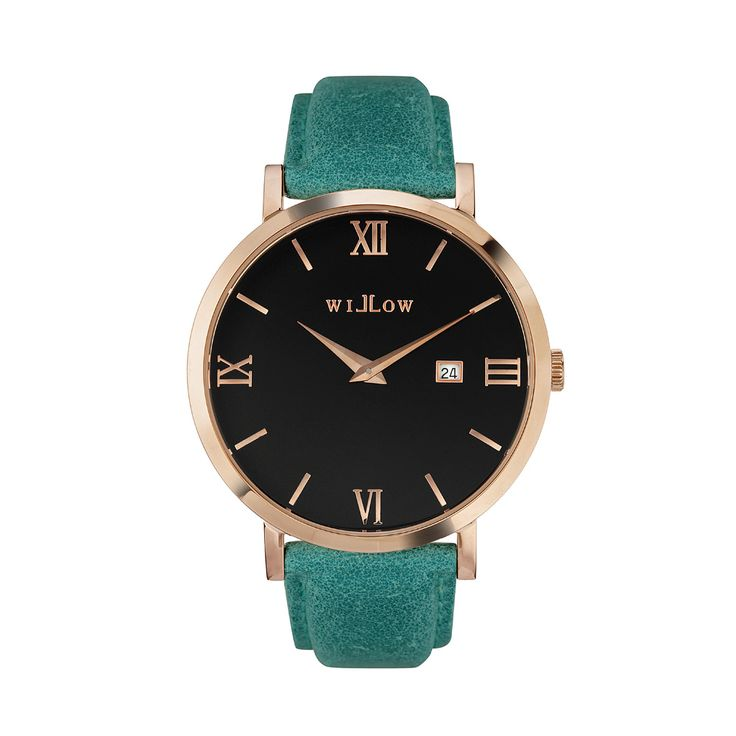 Roma Rose Gold Watch & Interchangeable Teal Leather Strap.