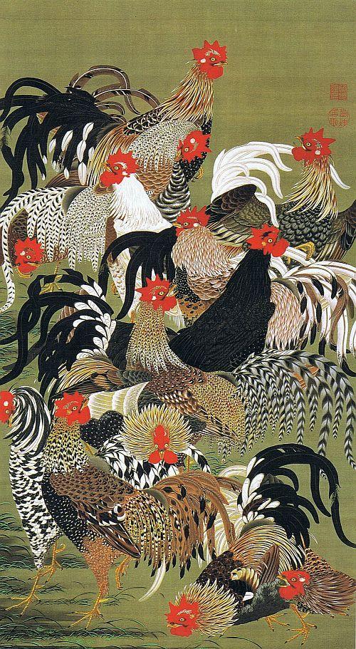 動植綵絵 群鶏図