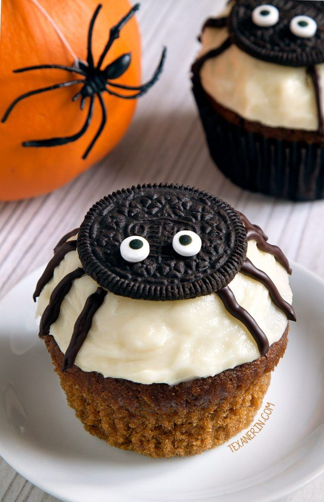 Easy to make spider cupcakes for Halloween with a delicious pumpkin cupcake base and cream cheese frosting! With grain-free, gluten-free, whole grain and all-purpose flour options. Please click through to the recipe to see the dietary-friendly options.