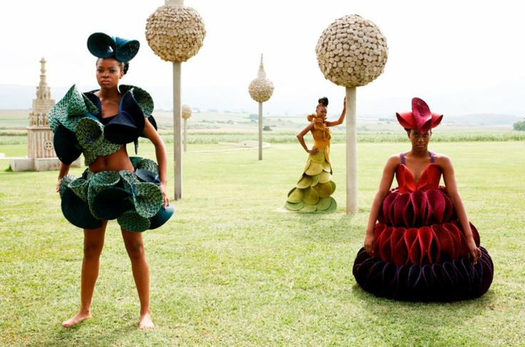 Couture craft creations by Gone Rural, made for Mustard Seed Africa's 2012 showcase. #gonerural #fashion #handcraft #ruralfashion #rural #swaziland #couture #catwalk #lutindzi