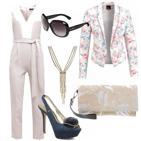 Un outfit ideale per diverse occasione dall'ufficio alla cerimonia....tuta jumpsuit con giacca floreale, scarpa Serenza blu, pochette e occhiale da sole!!!