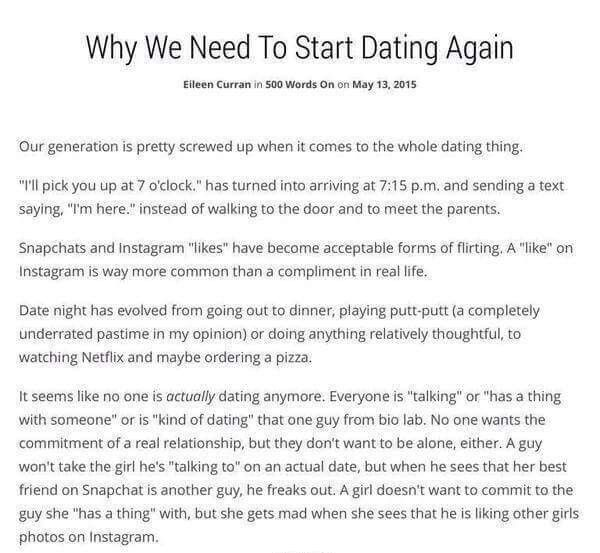 Why We Need To Start Dating Again