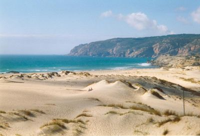 Praia do Guincho...west of Estoril....great for surfers and watching surfing.
