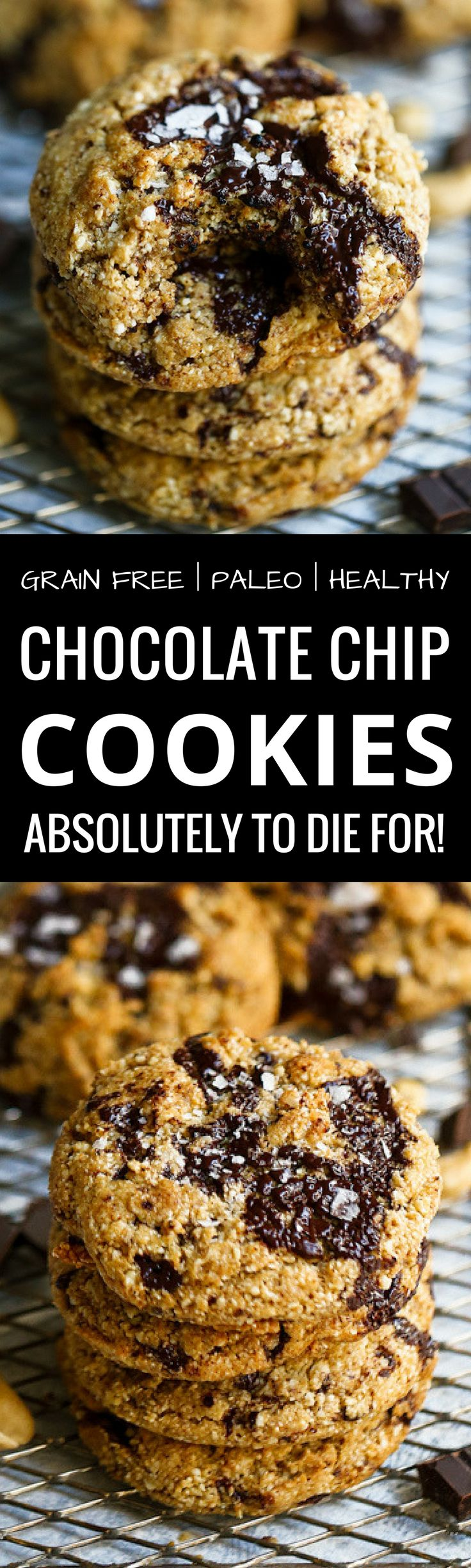 5 Minute Paleo Chocolate Chip Cookies. Made with dark chocolate, raw cashews and melted ghee. So delicious and freeze well, too. Paleo desserts!
