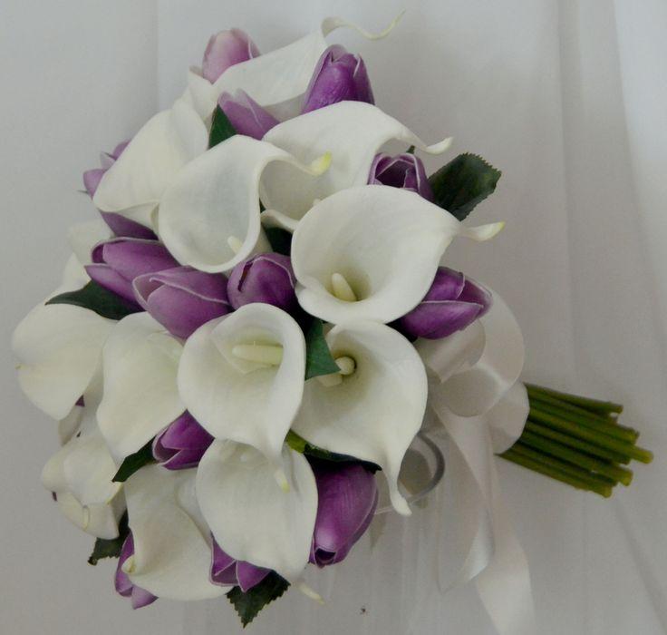 Latex white calla lily purple tulip bouquet