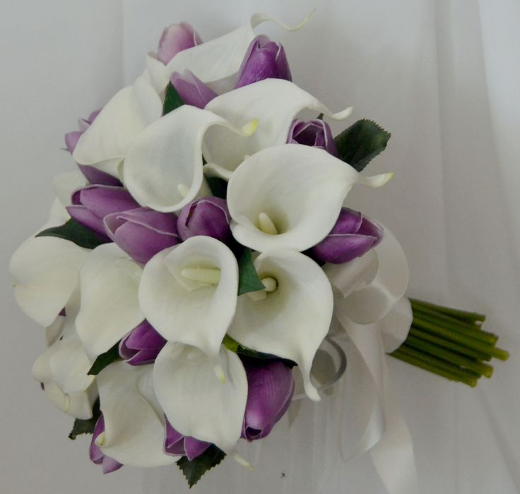 Purple And White Tulip Bouquet White calla lily  purple tulipPurple And White Tulip Bouquet