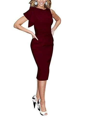 labaqiangj Elegant Womens Sleeveless Celebrity Elegant Ruched Prom Party Bodycon Dress BurgundySmall ** You can find more details by visiting the image link.