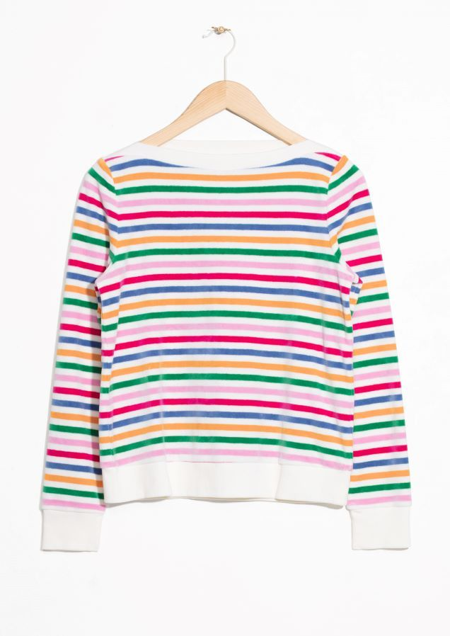 4c3568dbebda95 & Other Stories image 2 of Bateau Neck Top in Off white/ Rainbow ...