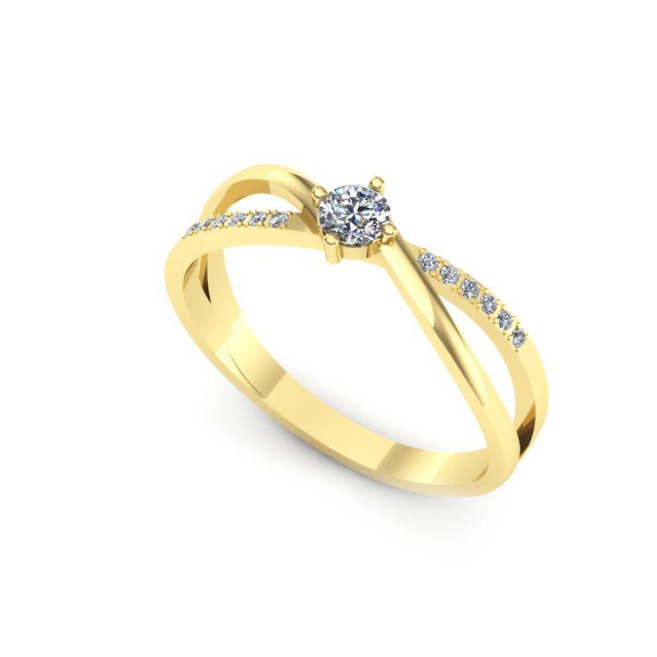 Inelul este realizat din:  Piatra principala: diamant 1buc x ~3.40mm - greutate: ~0.15ct; Pietre secundare: diamante 12buc x ~1.00mm - greutate totala: ~0.05ct