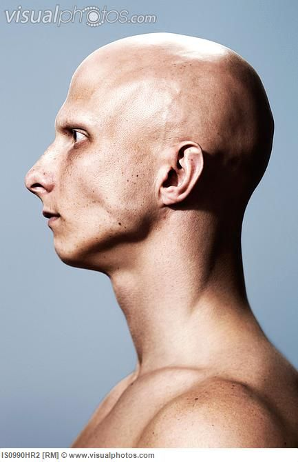 a side view of a bald man handy for getting the shape of. Black Bedroom Furniture Sets. Home Design Ideas