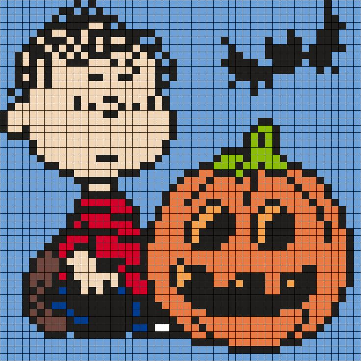 Halloween Linus From Snoopy And The Peanuts Gang (Square) Perler Bead Pattern / Bead Sprite