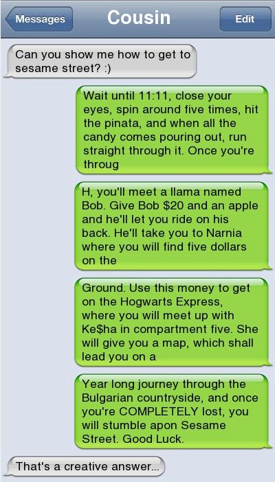 Epic text - How to get to sesame street - http://jokideo.com/epic-text-how-to-get-to-sesame-street/