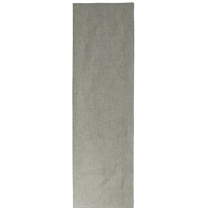 plain oatmeal coloured linen table runner