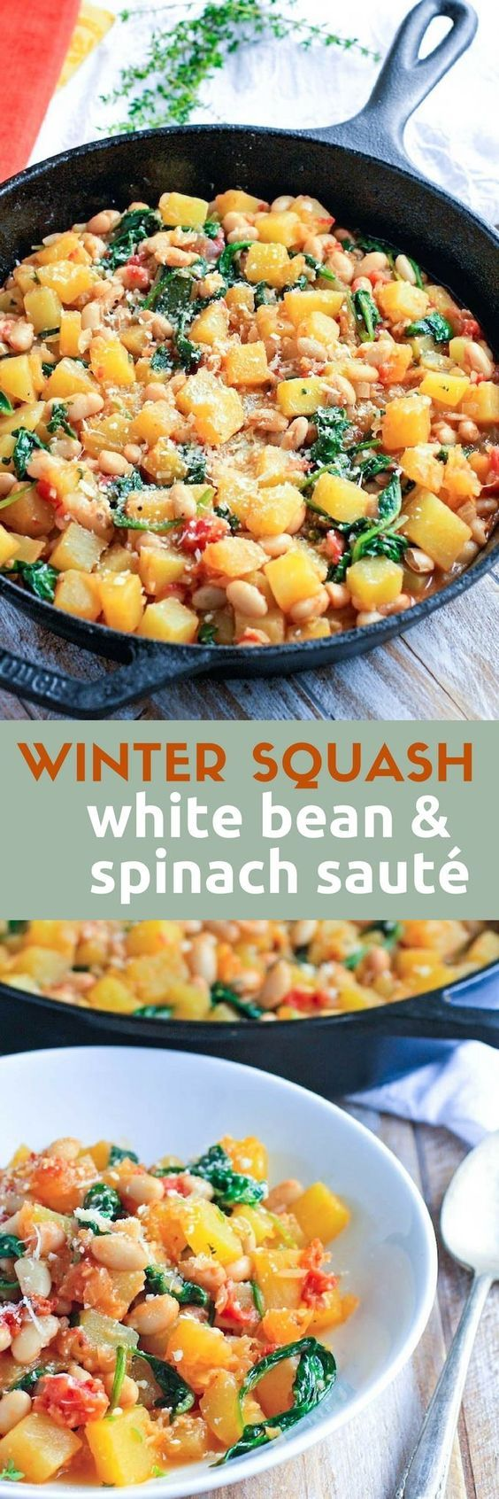 Winter Squash, White Bean & Spinach Sauté is a tasty meal perfect on a cold night. This winter squash dish is ideal for a Meatless Monday meal. #squash #GlutenFree #vegetarianrecipes