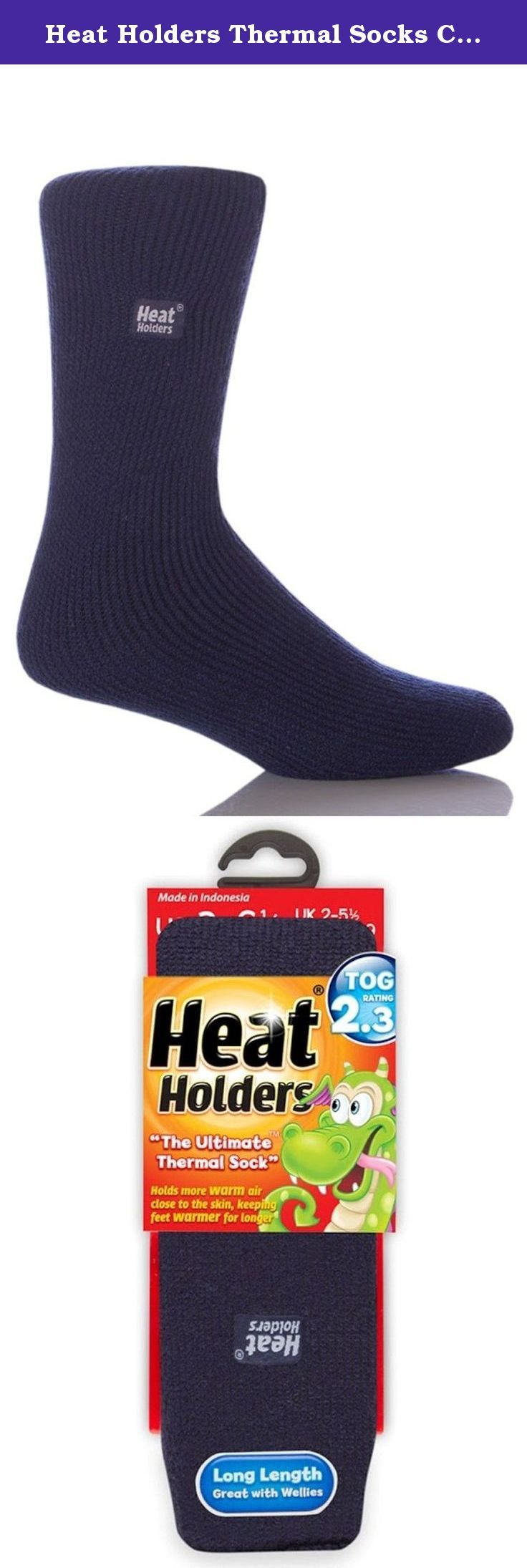 Heat Holders Thermal Socks Childrens Older Navy. Heat Holders® socks for children are available in two sizes, both in array of lively colors! The Younger Children's style is children's size 10 - 2½, for children aged approximately 3 to 8 years old. The Older Children's style is children's size 3 - 6½, for children aged approximately 8+ years. Both styles are in a long length. Choose a style to buy now! Tights for girls ages 7-13 also available. All styles available in multiple colors!.