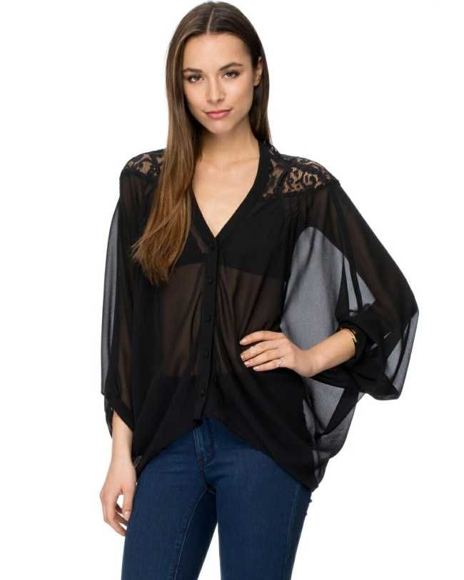 Black Sheer Lace Blouse - $60.00 - Australia Fashion Clothes
