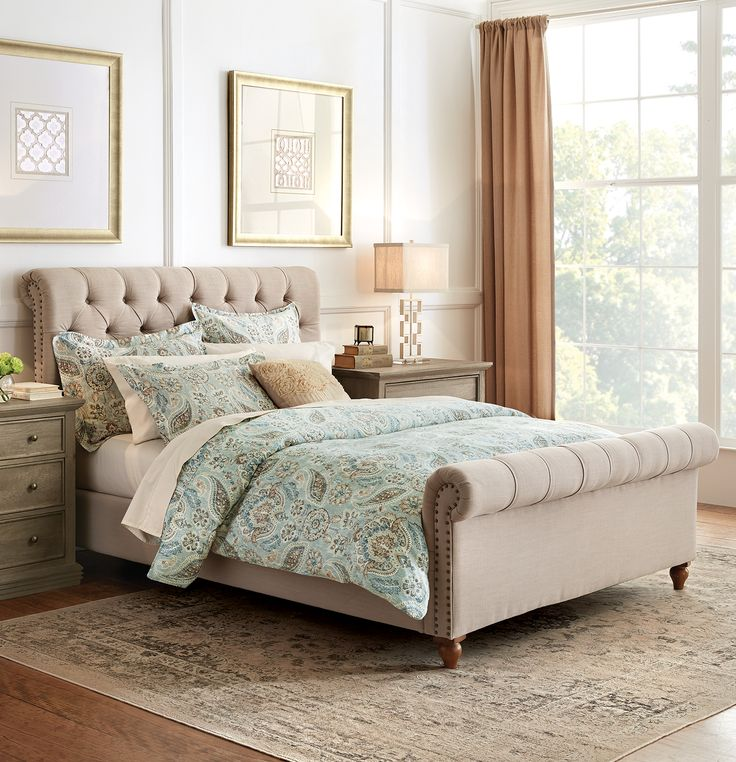 Inspired by the Chesterfield-style sofa, our Gordon Upholstered Bed has a traditional and classic look. This sleigh bed is an elegant addition to your bedroom. Complete with button tufts and nailhead trim, it has plenty of style and character.