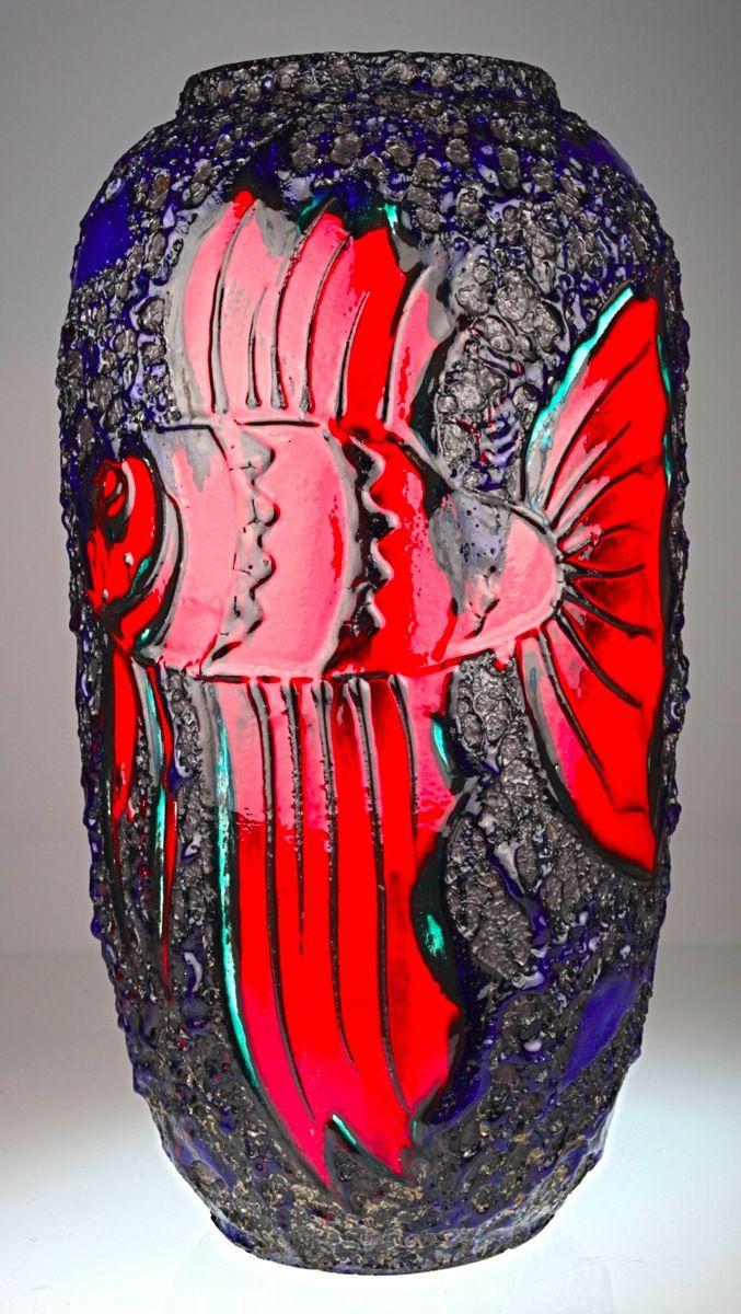 XL 52 cm Bodenvase Scheurich 546-52 fat lava Keramik Vase 70er Feuerfisch Fisch | eBay
