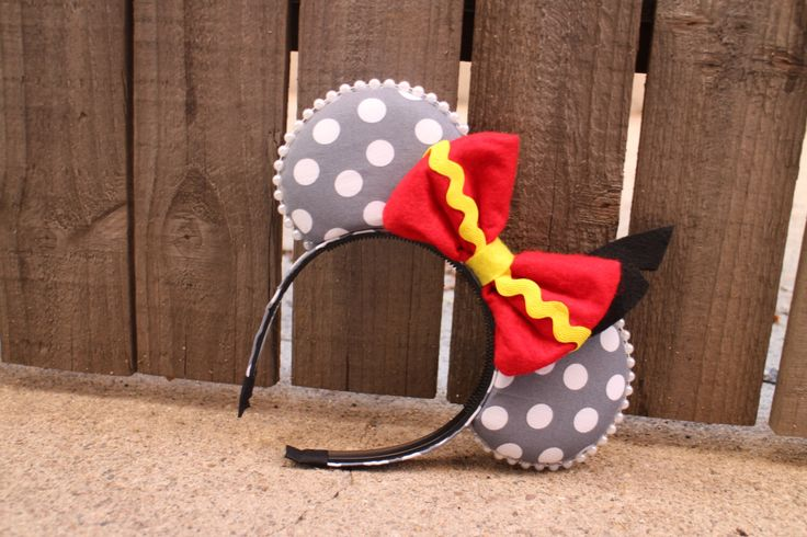 Dumbo-Inspired Mouse Ear Headband with Bow & felt black feather by ModernMouseBoutique on Etsy https://www.etsy.com/listing/223546346/dumbo-inspired-mouse-ear-headband-with