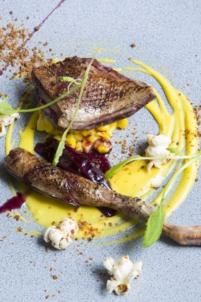 Agnar Sverrisson combines a variety of interesting tastes and textures in this striking pigeon recipe. To make the pigeon, the chef first cooks the legs and breasts in a water bath before searing them with a blowtorch.
