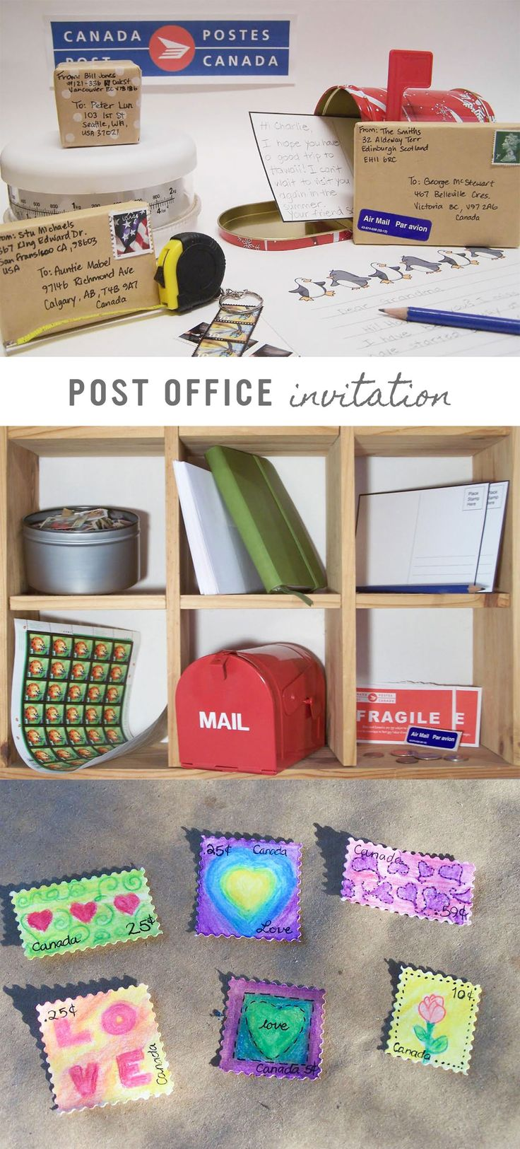 For hours of fun and learning create a post office invitation to play for kids