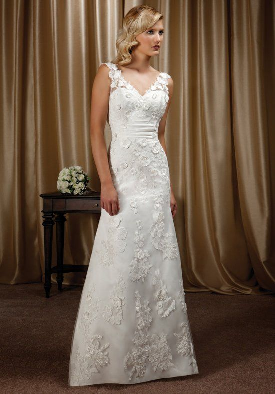 Mia Solano Bridal Lace A Line Silhouette Wedding Dress And Tulle With V Neckline Deep Back