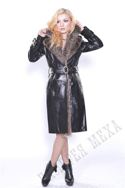 Кожаное женское пальто с мехом