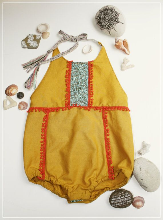 Boho baby yellow halter neck summer romper with by JuniperAndGypsy