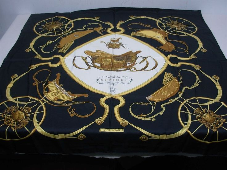"AUTHENTIC HERMES BLACK SILK SCARF EQUESTRIAN ""SPRINGS"" w MERRILL LYNCH LOGO"