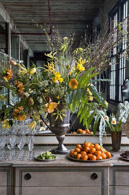 Huge yellow and green flower arrangement. Nicole Franzen Photography