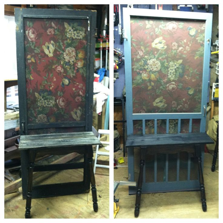 Two Different Shop Displays Made With Old Screen Doors, Barn Wood, U0026 A Set