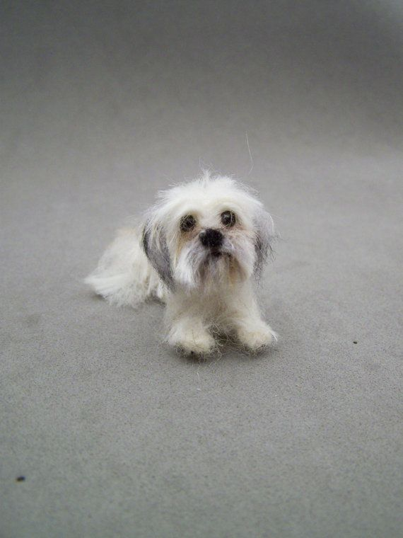 Custom order- Needle Felted miniature Dog-Wool animal sculpture-Collectible artist animals-Shih Tzu short haircut doll house 1,5 inch.