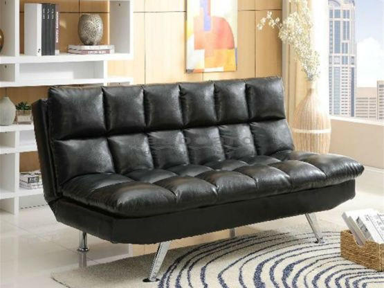 Contrast Piping Tufted Faux Leather Futon Sofa Bed Tufted