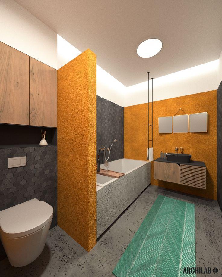 Návrh hlavnej kúpeľne - interiér rodinného domu, Záhorská Bystrica, Bratislava - Interiérový dizajn / Bathroom interior by Archilab