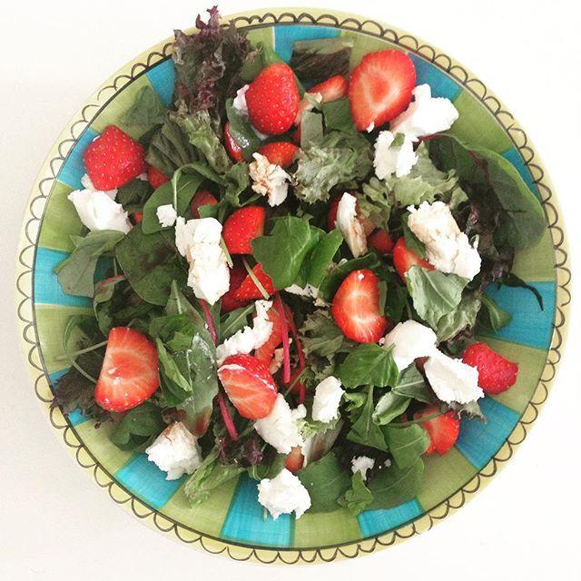 Aardbeien geitenkaas salade